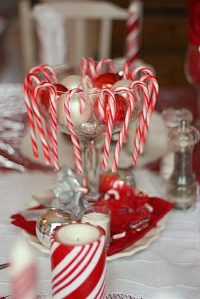 Candy cane table theme cute kids 39 tablescape for Candy cane holder candle centerpiece