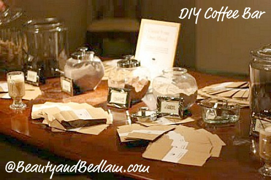 Coffee bar for parties weddings