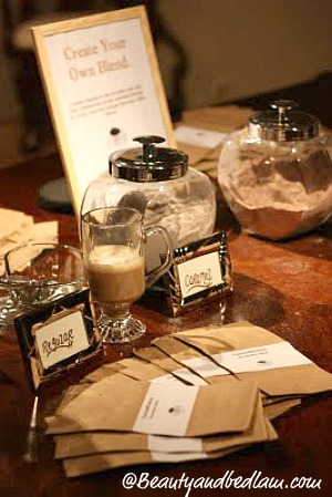 DIY Coffee Bar with party favor bags to make your own unique blend.