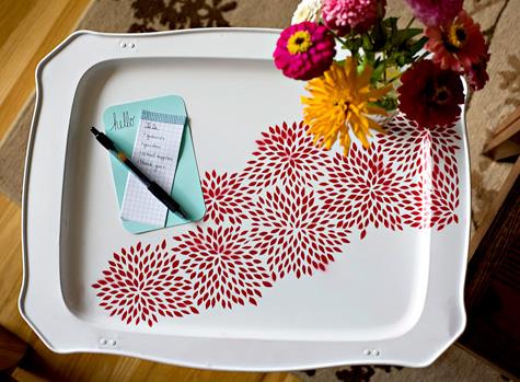 Beautiful painted metal tray