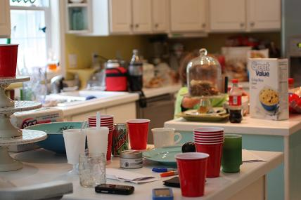 clutter on the countertops