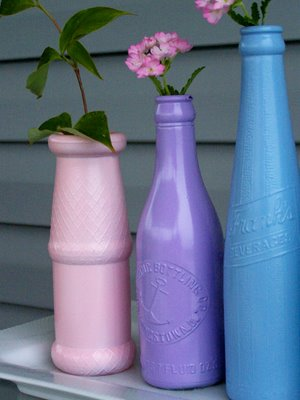 spray painted glass bottles