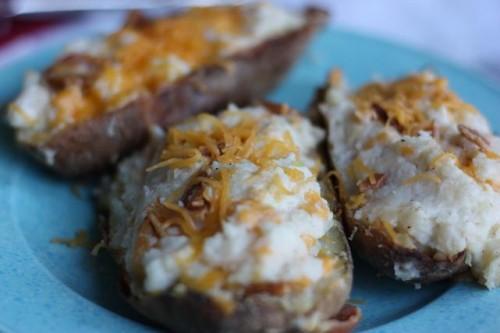double baked potatoes 500x333 Twiced Baked Potatoes   Double Stuffed Potatoes