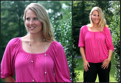 pink shirt collage Take the Color Challenge   Frugal Fashionista