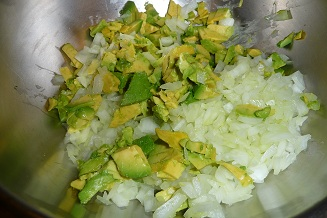 chopped avocado and onions