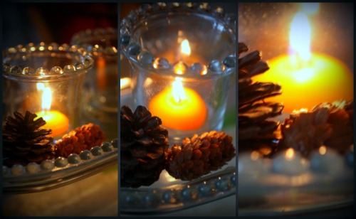 glass shelf candles