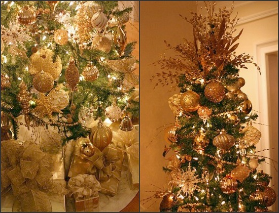 gold christmas tree decorating ideas photo4 - Gold Christmas Tree Decorating Ideas