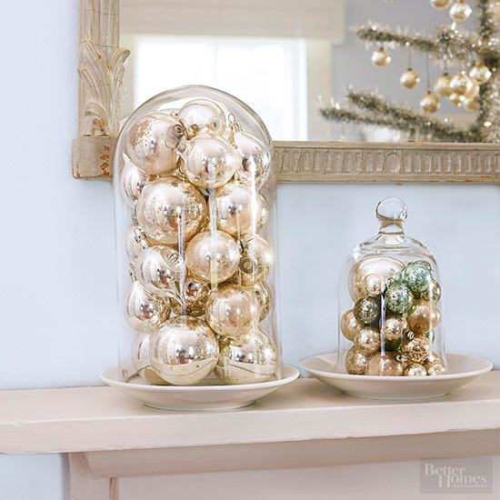 Love ornaments under cloches