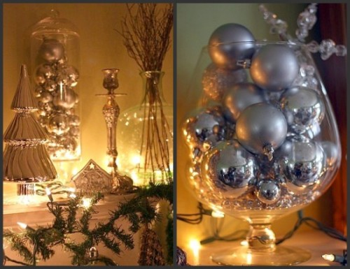 using glass bowls for ornaments 500x385 Holiday Decor on a Budget (a few last minute ideas)