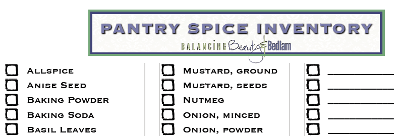 A Great Free Printable to help organize your spices. Pantry Spice Inventory