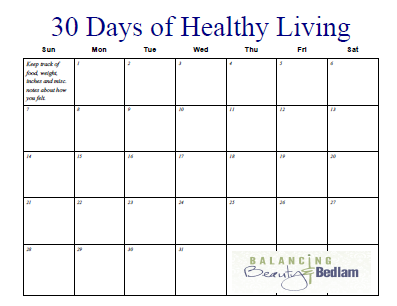 Printable Fitness Calendar 30 Days Of Healthy Living