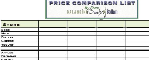 Grocery Comparison Printable List