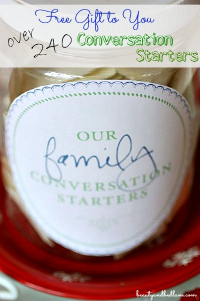 Have amazing dinner conversation with this special family tradition. Over 240 Conversation starters in this free printable. Makes the perfect gift!