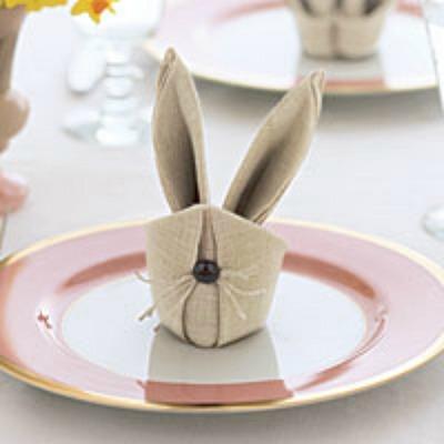 Bunny napkin fold easter napkin fold - Fold bunny shaped napkin ...