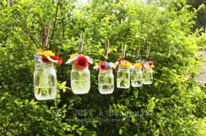 mason jar on laundry line