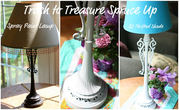 spray paint lamp1 Trash to Treasure Spring Decor in Minutes