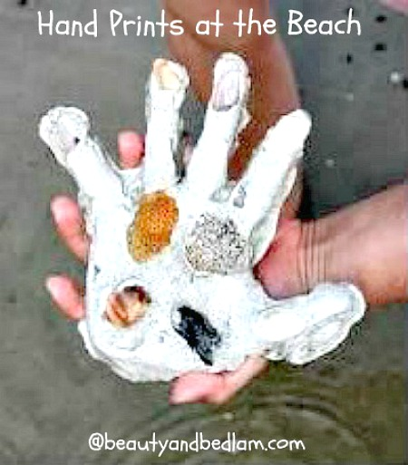 Hand prints made from plaster of paris. So cute!
