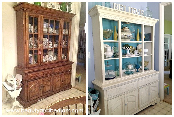 Before After Furniture painting transformation1 Amazing Color Pop Hutch Transformation