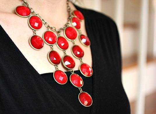 Red Statement piece necklace Fashion, Make Up, Jesus and Me