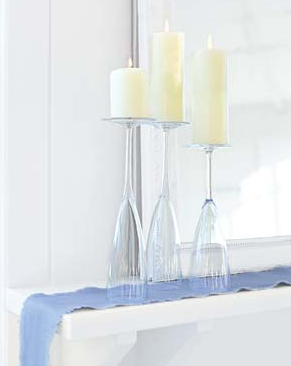 Turn your glassware upside down and create the most gorgeous and simple elegance. Lots of great ideas!
