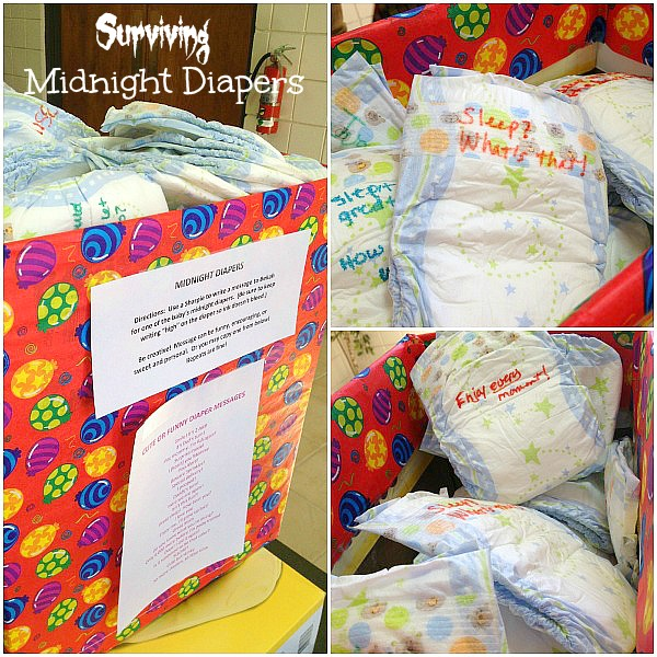 Things To Do With Diapers For A Baby Shower: Surviving Midnight Diapers (Baby Shower Idea)