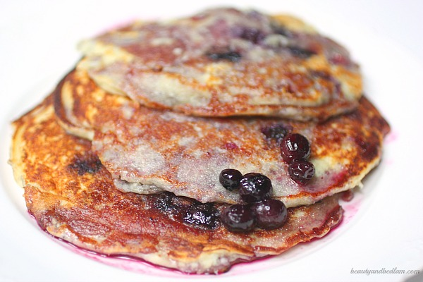 Blueberry Ricotta Pancakes with Homemade Simple Syrup