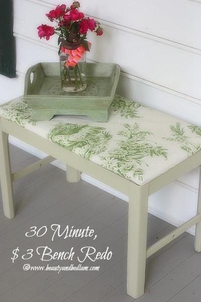 30 Minute, $3 DIY Bench Re-do