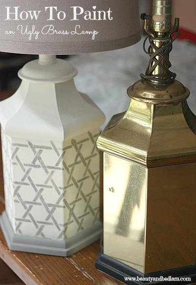Painting An Ugly Brass Lamp Amp Making It Beautiful Jen