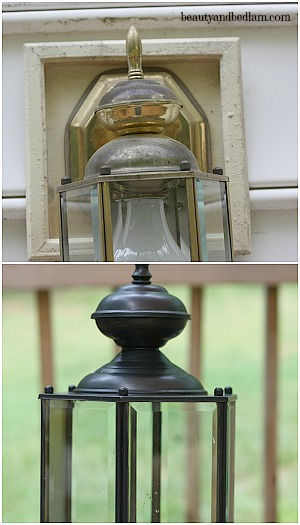 painting brass lamps before after diy With painting an outdoor light fixture