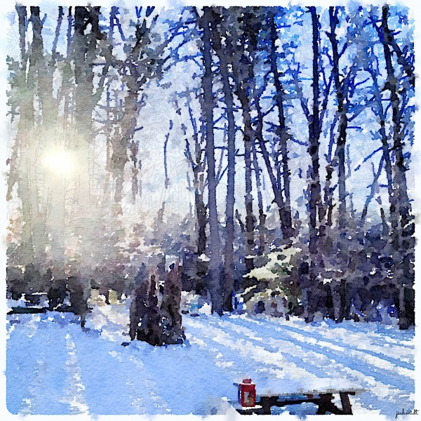 Outdoor winter scene created with Waterlogue