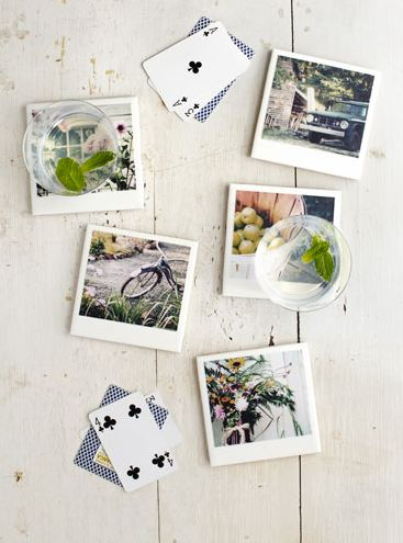 Adorable poloroid inspired photo coasters. So easy and inexpensive!