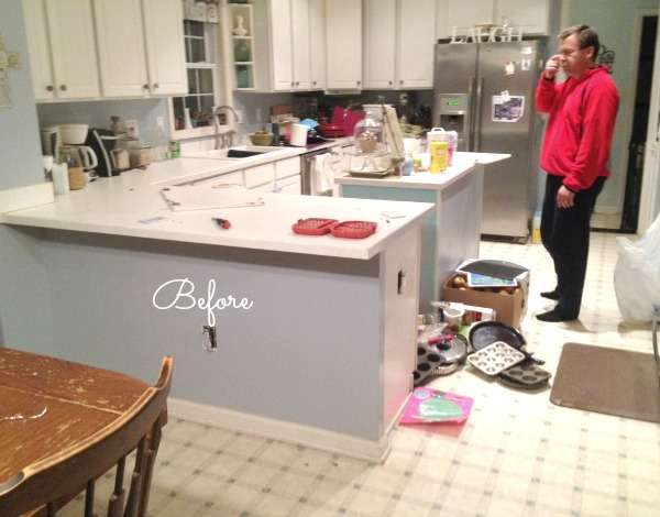 Spontaneous kitchen demo new floors balancing beauty - Island or peninsula kitchen ...