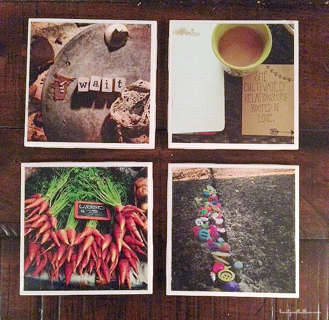 This is such an amazing idea. Photo Coasters from instagram or iphone. Super easy and inexpensive.