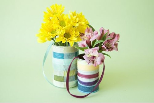 Use recycled cans to share May Day basket greetings. Great ideas