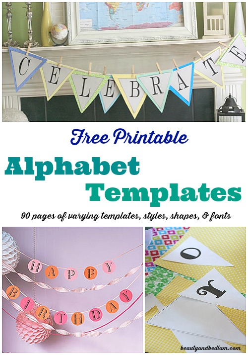 90 pages of free printable alphabet templates with different fonts, shapes, hearts and more @beautyandbedlam