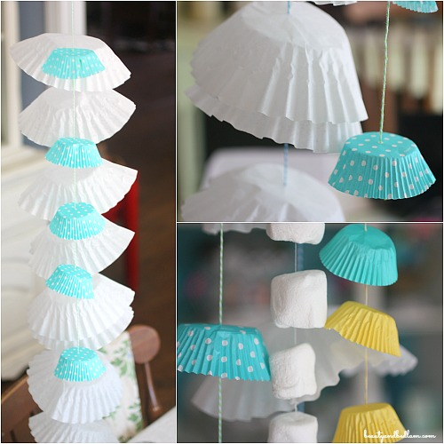 Adorable coffee filter and cupcake liner garland