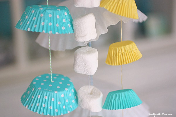 Simple cupcake liner, coffee filter and marshmallow garland