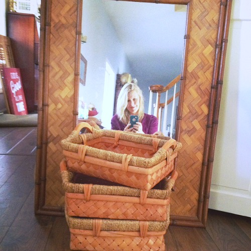 I love these baskets and amazing mirror. Can't wait to update it.