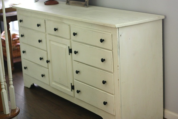 Love that I found this beautiful dresser already painted with Annie Sloan Old White