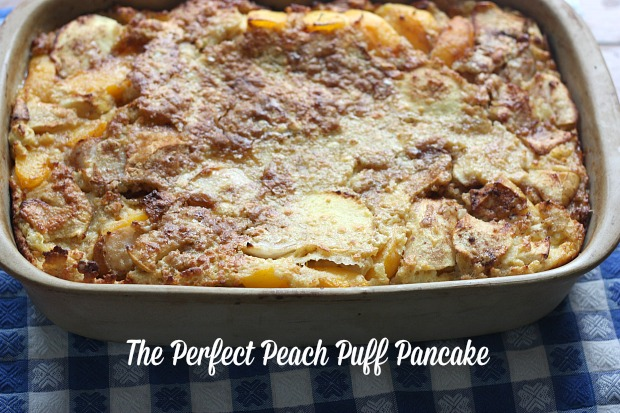 This delicious peach puff pancake is the perfect blend of all my favorite breakfast treats.