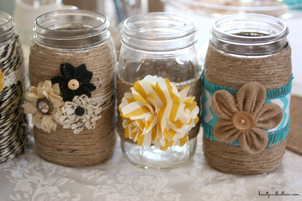 DIY Embellished Glass Mason Jars | Jen Schmidt