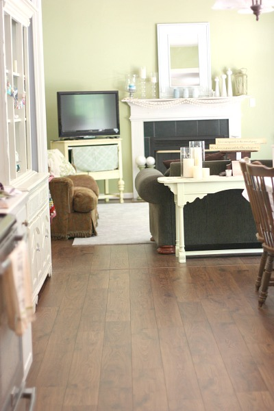 Open floor plan from kitchen to family room. Beautiful Mohawk laminate flooring (handscraped look)