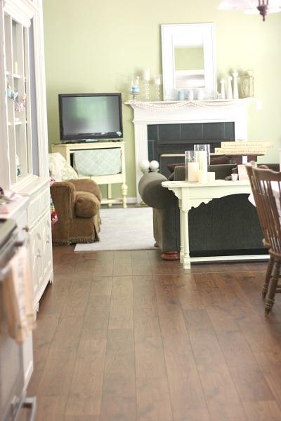 Open floor plan from kitchen to family room. Beautiful Mohawk laminate flooring (handscraped look)