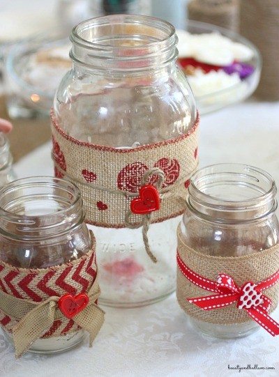 Such a fun idea for any love themed event - DIY mason jars