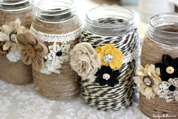 DIY Embellished Glass Mason Jars