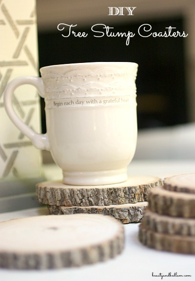 DIY Tree Stump Coasters out of hard wood