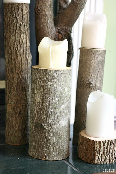 Shop your back yard for tree stumps. Love these stump candleholders