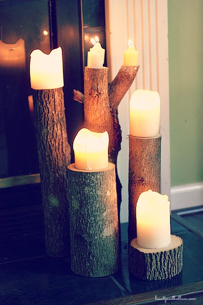 These would be a great gift idea - DIY wood candleholders