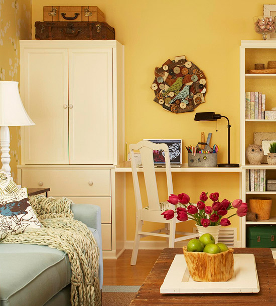 Use shelving to flank a desk area. So smart!