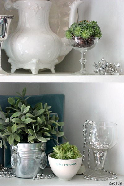 Adding fresh greenery to kitchen shelves